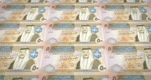 Banknotes of fifty jordanian dinars of Jordan rolling, cash money, loop. Series of banknotes of fifty jordanian dinars of the central bank of Jordan rolling on royalty free illustration
