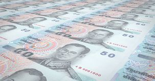Banknotes of fifty thai bahts of Thailand, cash money, loop. Series of banknotes of fifty thai bahts of the National Bank of Thailand rolling on screen, coins of stock illustration