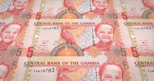 Banknotes of five gambian dalasis of Gambia rolling, cash money, loop. Series of banknotes of five gambian dalasis of the Central Bank of Gambia rolling on stock illustration