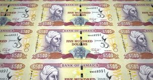 Banknotes of five hundred jamaican dollars of Jamaica rolling, cash money, loop. Series of banknotes of five hundred jamaican dollars of the bank of Jamaica stock illustration