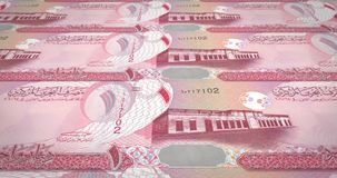 Banknotes of one bahraini dinar of Bahrain rolling, cash money. Series of banknotes of one bahraini dinar of the bank of Bahrain rolling on screen, coins of the stock illustration