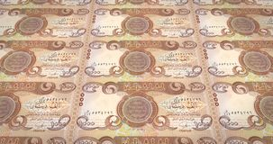 Banknotes of one thousand dinars iraq rolling, cash money, loop. Series of banknotes of one thousand iraqi dinars of the central bank of Iraq rolling on screen stock illustration