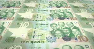 Banknotes of ten Ghanaian cedis of Ghana, cash money, loop. Series of banknotes of ten Ghanaian cedis of the Bank of Ghana in Africa rolling on screen, coins of vector illustration
