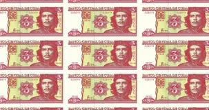 Banknotes of twenty cuban pesos of central bank of Cuba, cash money, loopBanknotes of three cuban pesos of central bank of Cuba, c. Series of banknotes of three vector illustration