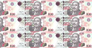 Banknotes of twenty bahamians dollars rolling on screen, cash money, loop. Series of banknotes of twenty bahamians dollars of the bank of The Bahamas rolling on royalty free illustration