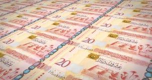 Banknotes of twenty libyan dinars of Libya rolling on screen, cash money, loop. Series of banknotes of twenty libyan dinars of the central bank of Libya rolling royalty free illustration