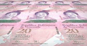 Banknotes of twenty Venezuelan bolivars rolling on screen, cash money, loop. Series of banknotes of twenty Venezuelan bolivars of the bank of Venezuela rolling vector illustration