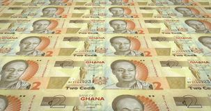 Banknotes of two Ghanaian cedis of Ghana, cash money, loop. Series of banknotes of two Ghanaian cedis of the Bank of Ghana in Africa rolling on screen, coins of vector illustration