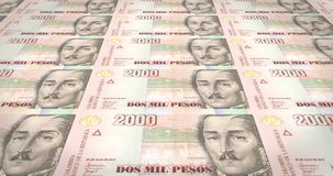 Banknotes of two thousand colombian pesos of Colombia, cash money, loop. Series of banknotes of two thousand colombian pesos of the bank of Colombia rolling on vector illustration