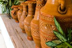 Beautiful hand crafted clay pots captured in details royalty free stock image