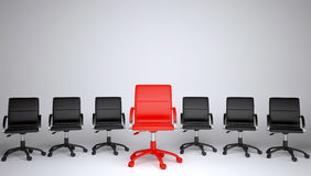 Series of black and one red office chair Royalty Free Stock Photos