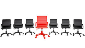 Series of black and one red office chair Royalty Free Stock Image