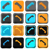 Series of blue and orange phone icons Stock Photography
