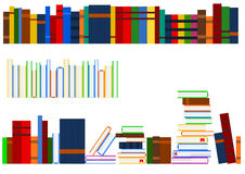 Series of books. Vector image of several aligned rows of books in a shelf Royalty Free Stock Photography
