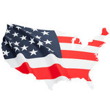 Series of border alike shaped national flags - United States of America. Flag blowing in the wind. Part of border alike shaped national flag series - USA Royalty Free Stock Image
