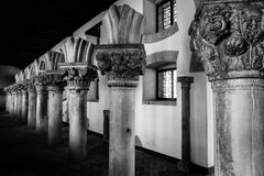 Series of broken columns in black and white Royalty Free Stock Photography
