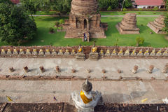 Series of buddha in an old Thai temple at Ayuthaya Thailand Royalty Free Stock Images
