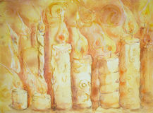 Series of burring candles. Royalty Free Stock Photo