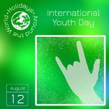 Series calendar. Holidays Around the World. Event of each day of the year. International Youth Day. 12 August. Sign of the horns. Calendar. Holidays Around the Stock Illustration
