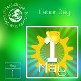 Series calendar. Holidays Around the World. Event of each day of the year. 1st May Labor Day. Calendar. Holidays Around the World. Event of each day. Green blur Vector Illustration
