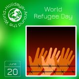 Series calendar. Holidays Around the World. Event of each day of the year. World Refugee Day. Hands behind barbed wire. Background. Calendar. Holidays Around the Stock Photo