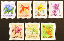 Series of canadian stamps on flowers Stock Photos