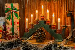 Series of candles on a candlestick in the interior. Selective fo Royalty Free Stock Images