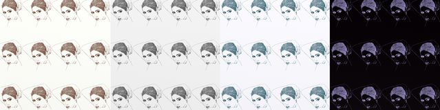 A series of cards, artistic with women, vintage, with repeated motif different shades. Royalty Free Stock Photography