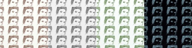 A series of cards, artistic with women, vintage, with repeated motif different shades. Stock Image