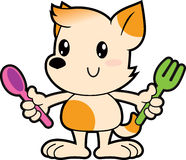 Series cartoon little dog holding spoon and fork Royalty Free Stock Images