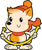 Series cartoon little dog holding thick rope Royalty Free Stock Photography