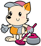 Series cartoon little dog playing curling Royalty Free Stock Photography