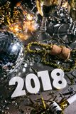 New Year: Champage And Party For 2018 NYE. A series celebrating New Year`s Eve, some with 2018 numerals.  Lots of confetti, champagne, etc. Good for backgrounds Royalty Free Stock Image