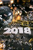 New Year: 2018 NYE Party With Mirror Ball. A series celebrating New Year`s Eve, some with 2018 numerals.  Lots of confetti, champagne, etc. Good for backgrounds Royalty Free Stock Photo