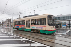 The 7000 Series Centram of Toyama city tram. Royalty Free Stock Images