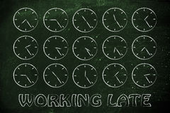 Series of clocks showing time passing by: working late Royalty Free Stock Photography