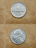 From series: coins of world. America. FIVE CENTS. Stock Images