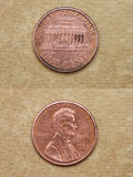 From series: coins of world. America. ONE CENT. Stock Photo