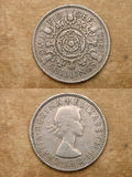 From series: coins of world. England. TWO SHILLINGS. Royalty Free Stock Photography