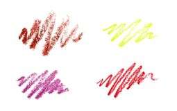 Series of color pencil strokes on white background. Color pencils drawings isolated on white background.  stock photo