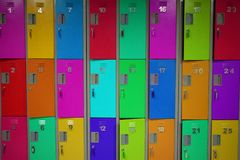 Series of colored, numbered lockers stock photography