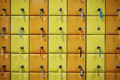 Series of colored, numbered lockers stock photos
