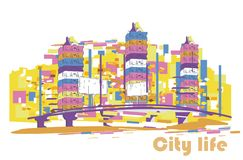 Series of colorful abstract street views in the city. Hand drawn vector architectural background with skyscrapers royalty free illustration