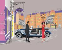 Series of colorful retro street views with fashion people in the old city. Hand drawn vector architectural background with historic buildings. Street musicians vector illustration