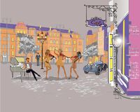 Series of colorful retro street views with fashion people in the old city. Hand drawn vector architectural background with historic buildings. Street musicians royalty free illustration