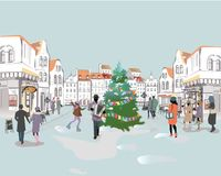 Series of colorful street views with people in the old city in winter. Hand drawn vector architectural background with historic buildings vector illustration