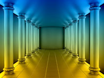 A series of colour columns in the annular hall. 3d render Stock Photography