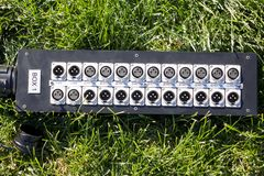 Series of connection xlr conector. Rear of sound control panel royalty free stock photo