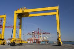 Series of container cranes Royalty Free Stock Photos
