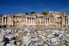 Series of Corinthian columns in Side, Turkey Stock Image